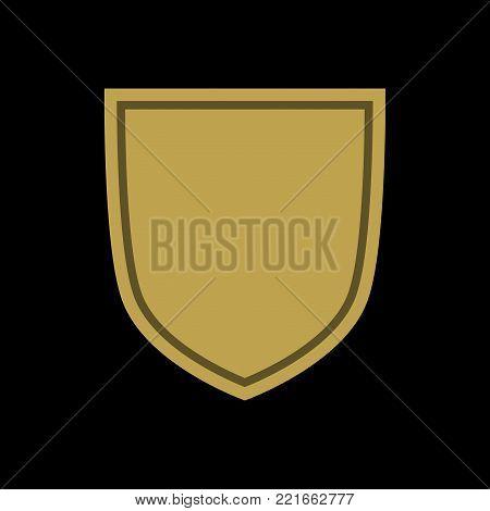 Shield shape gold icon. Simple flat logo on black background. Symbol of security, protection, safety, strong. Element badge for secure protect design emblem decoration. Vector illustration