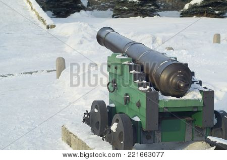 vintage artillery cannon at Fort winter, the Museum