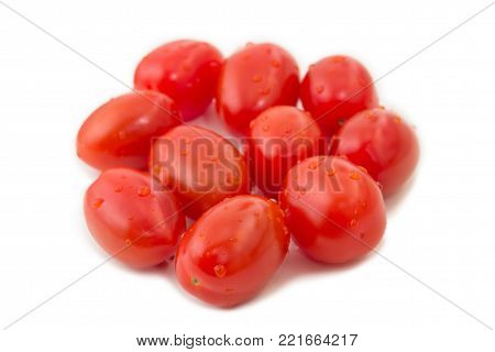 Closeup Of Several Ripe Plum Tomatoes (also Known As A Processing Tomatoes Or Paste Tomatoes), Isola