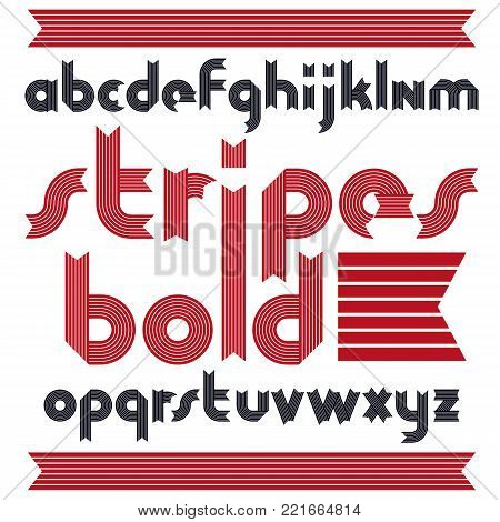 Vector trendy modern uppercase alphabet letters collection. Classic bold type font, script from a to z can be used for logo creation. Made with stripy decoration.