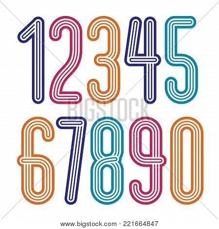 Set of stylish disco vector digits, modern numerals collection. Funky tall numerals from 0 to 9 best for use in poster art. Created using triple stripy, parallel lines.