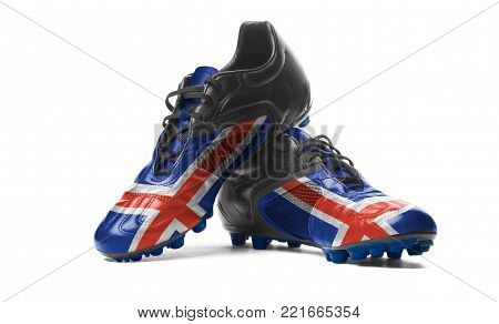 The Icelandic flag painted on football boots. Isolated on white background.