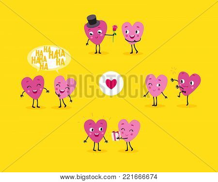 Love story. A collection of animated hearts, a loving guy and a girl in different situations. Isolated groups of characters, illustrations for Valentines Day, Wedding, Engagement. Vector set 4