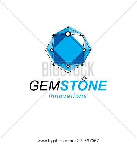 Communication technologies modern logo. 3D polygonal geometric faceted object, vector abstract design element.
