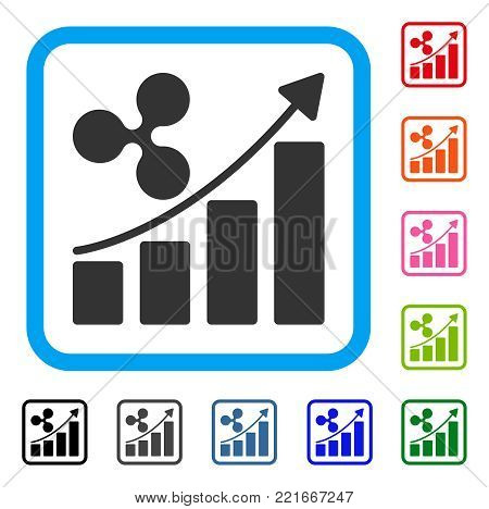 Ripple Growth Trend icon. Flat gray iconic symbol in a blue rounded rectangle. Black, grey, green, blue, red, pink color variants of ripple growth trend vector.