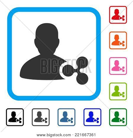 Ripple Person Loan icon. Flat gray pictogram symbol in a blue rounded squared frame. Black, gray, green, blue, red, pink color variants of ripple person loan vector.