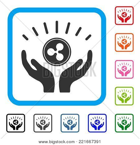 Ripple Prosperity Hands icon. Flat grey pictogram symbol in a blue rounded rectangle. Black, grey, green, blue, red, orange color versions of ripple prosperity hands vector.
