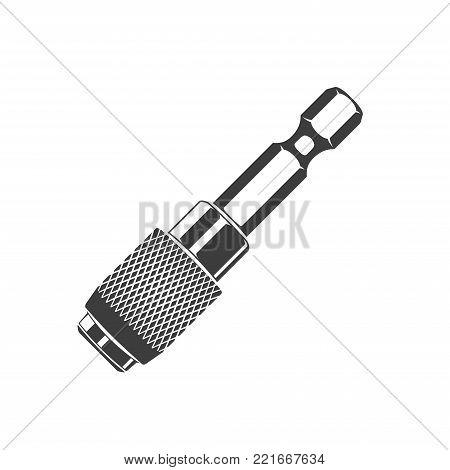Adapter for bits isolated on the white background, monochrome style, vector