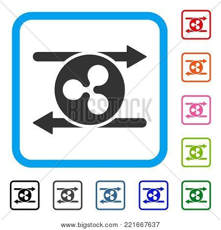Ripple Transaction Arrows icon. Flat grey pictogram symbol in a blue rounded rectangular frame. Black, gray, green, blue, red, pink color versions of ripple transaction arrows vector.