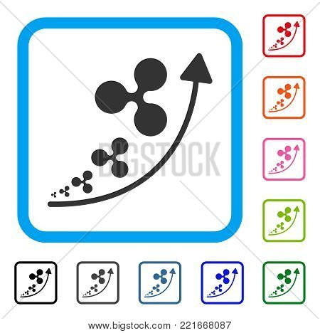 Ripple Inflation Trend icon. Flat grey iconic symbol in a blue rounded squared frame. Black, grey, green, blue, red, orange color versions of ripple inflation trend vector.