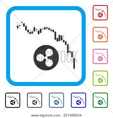 Candlestick Chart Ripple Fall icon. Flat gray iconic symbol in a blue rounded square. Black, gray, green, blue, red, pink color additional versions of Candlestick chart ripple fall vector.