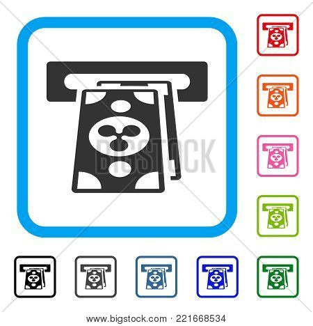 Ripple ATM Terminal icon. Flat gray iconic symbol in a blue rounded squared frame. Black, gray, green, blue, red, orange color versions of ripple atm terminal vector. Designed for web and software UI.