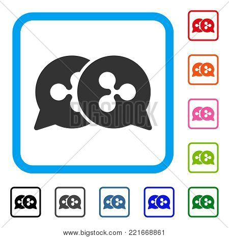 Ripple Bids icon. Flat gray iconic symbol inside a blue rounded frame. Black, gray, green, blue, red, orange color additional versions of ripple bids vector. Designed for web and software UI.