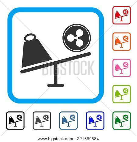 Ripple Coin Trade Swing icon. Flat grey iconic symbol in a blue rounded rectangular frame. Black, grey, green, blue, red, pink color versions of ripple coin trade swing vector.