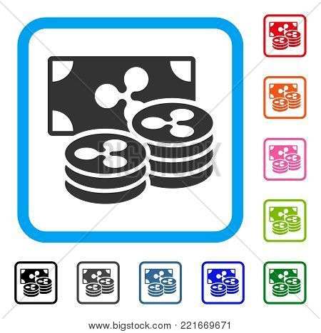 Ripple Coins And Banknote icon. Flat grey iconic symbol inside a blue rounded rectangular frame. Black, grey, green, blue, red, pink color versions of ripple coins and banknote vector.