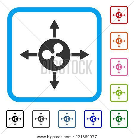 Ripple Directions icon. Flat gray iconic symbol inside a blue rounded squared frame. Black, gray, green, blue, red, pink color variants of ripple directions vector.