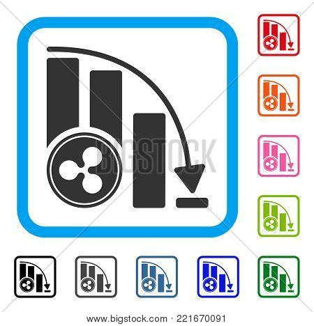 Ripple Falling Acceleration Chart icon. Flat gray iconic symbol in a blue rounded squared frame. Black, gray, green, blue, red, orange color variants of ripple falling acceleration chart vector.