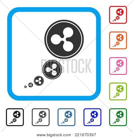 Ripple Inflation icon. Flat gray iconic symbol in a blue rounded square. Black, grey, green, blue, red, pink color variants of ripple inflation vector. Designed for web and software UI.