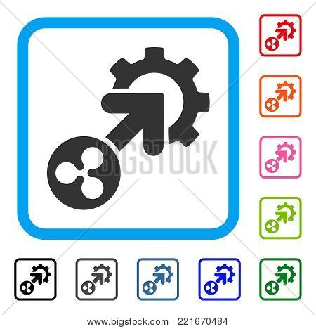 Ripple Integration Cog icon. Flat gray pictogram symbol in a blue rounded frame. Black, grey, green, blue, red, orange color additional versions of ripple integration cog vector.