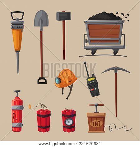 Set of mining tools. Worker's inventory. Cartoon vector illustration. Coal mining theme. Hard work.