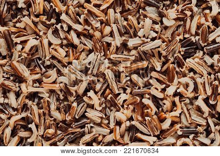 natural texture a closeup of boiled grains of wild rice for abstract a background or for wallpaper of monotonous brown color