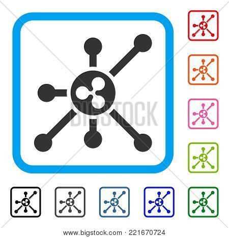 Ripple Node icon. Flat gray iconic symbol inside a blue rounded squared frame. Black, gray, green, blue, red, orange color additional versions of ripple node vector. Designed for web and software UI.