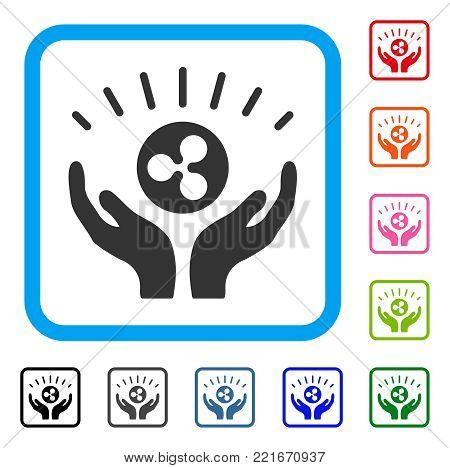 Ripple Prosperity Hands icon. Flat gray iconic symbol in a blue rounded square. Black, gray, green, blue, red, orange color versions of ripple prosperity hands vector.