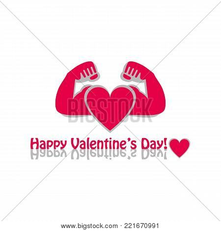 Vector graphic flat icon Athlete sportsman bodybuilder and a red heart. The concept of sport, gym and strength. Happy Valentine's day greeting on white background