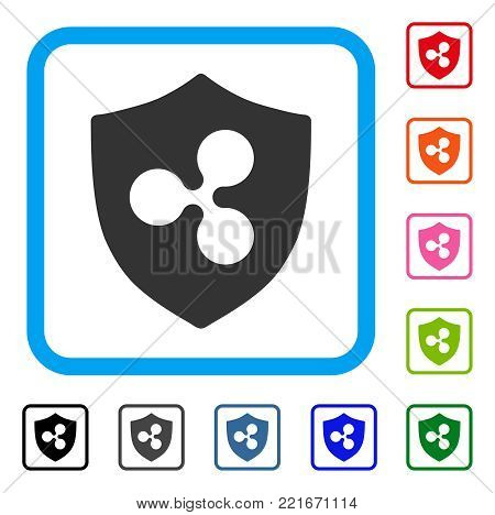 Ripple Shield icon. Flat grey pictogram symbol inside a blue rounded frame. Black, grey, green, blue, red, orange color additional versions of ripple shield vector. Designed for web and app UI.