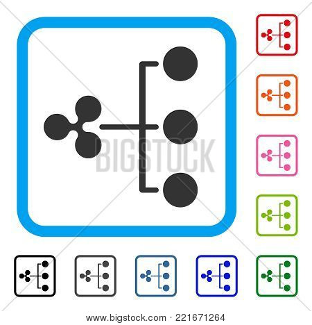 Ripple Structure Diagram icon. Flat gray iconic symbol in a blue rounded frame. Black, grey, green, blue, red, orange color variants of ripple structure diagram vector. Designed for web and app UI.