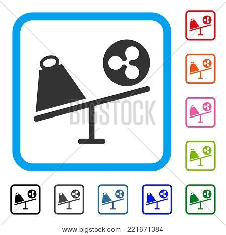 Ripple Trade Swing icon. Flat grey iconic symbol inside a blue rounded frame. Black, gray, green, blue, red, pink color additional versions of ripple trade swing vector. Designed for web and app UI.