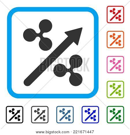 Ripple Up Arrow icon. Flat grey iconic symbol inside a blue rounded rectangle. Black, grey, green, blue, red, orange color versions of ripple up arrow vector. Designed for web and app UI.