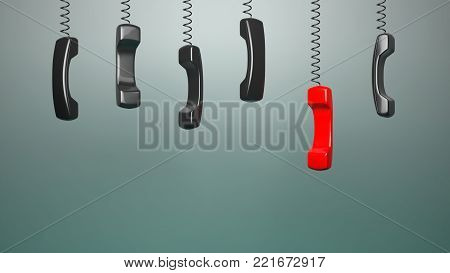 Telephone tubes on a gray background . Telephone communications