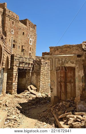 Destroyed houses in the medieval  village of Thula. Yemen. Thula is a UNESCO World Heritage City now destroyed by the civil war