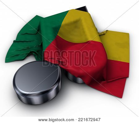 music note and flag of benin - 3d rendering