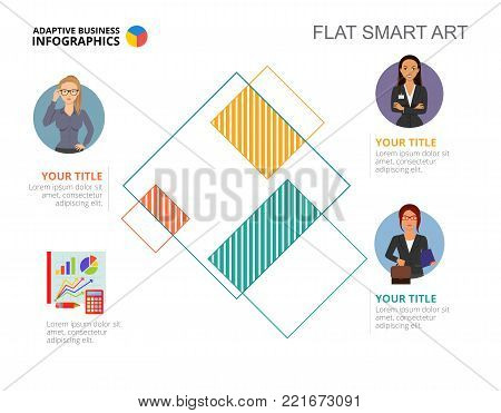 Three employees process chart slide template. Business data. Analyst, expert, design. Creative concept for infographic, project. Can be used for topics like analytics, statistics, teamwork.