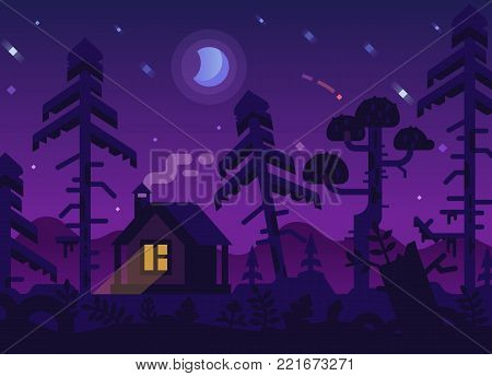 Hunting Lodge with a Glowing Window in the Purple Night Forest under the Moon