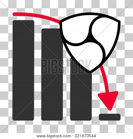 Nem Fall Down Chart vector pictogram. Illustration style is flat iconic symbol on a chess transparent background.
