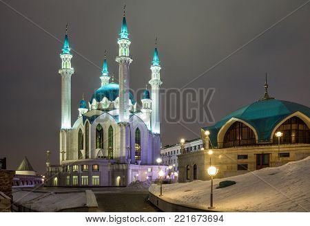 Illuminated mosque of Kul-Sharif in the Kazan Kremlin in winter evening, Kazan, Russia