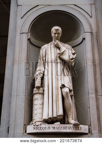 Statue of philosopher and politician Niccolo Macchiavelli in the Italian city of Florence