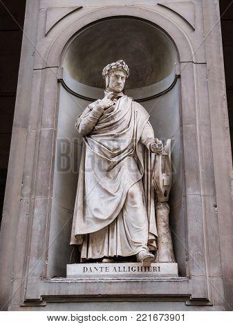 Statue of poet Dante Allighieri in the Italian city of Florence
