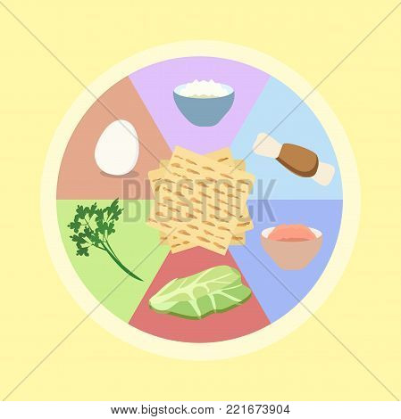 seder plate for Passover - vector cartoon illustration in flat style