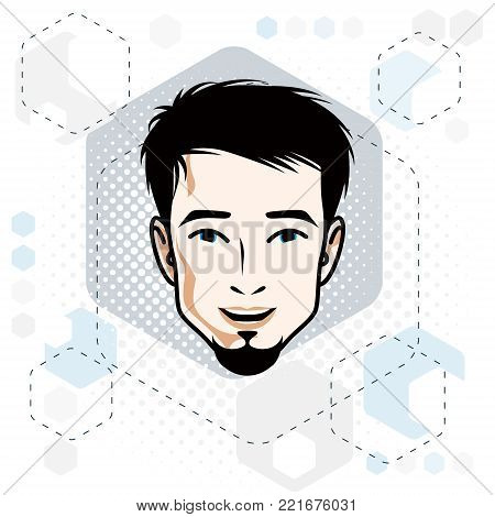 Vector illustration of handsome brunet male face with beard, positive face features, clipart.