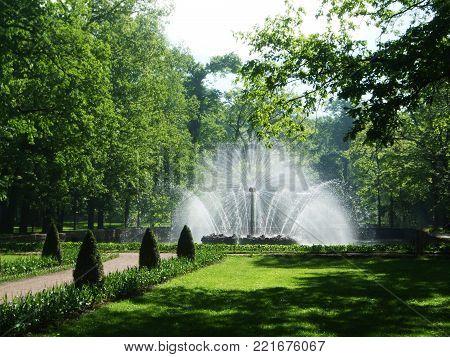 Petergof, Saint peterburg, Russia - JUNE 12, 2013: High round lush white fountain in the park of Petergof.