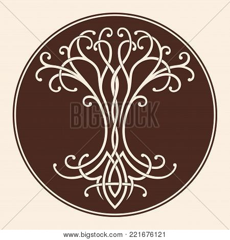 Vector Celtic national drawing a tree of life in a circle. poster