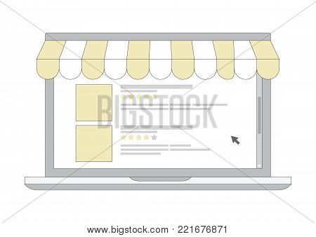The online shopping e-commerce laptop line icon with computer cursor and ranking star