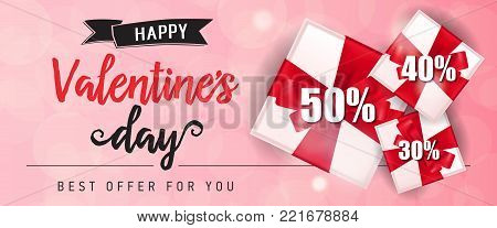 Happy Valentines Day Best offer for you lettering with present boxes on pink background. Calligraphic inscription can be used for festive design, posters, banners, leaflets