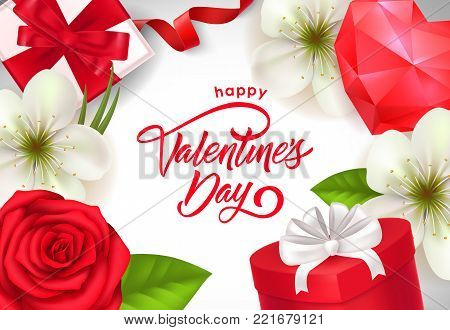Happy Valentines day calligraphic lettering. Saint Valentines Day postcard with ruby heart, present boxes and flowers. Handwritten text can be used for greeting cards, festive design, posters