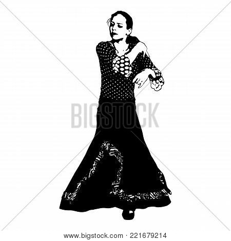 Silhouette of Spanish woman Flamenco dancer. Dancing Sevillanas in gypsy dress and comb in traditional Dance of Spain concept performing show isolated on white background.
