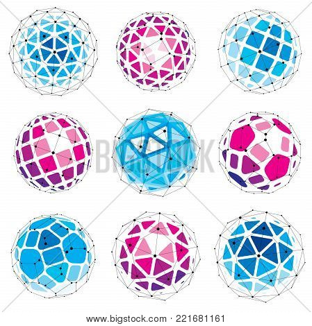 Set of perspective technology shapes, polygonal wireframe objects collection. Abstract faceted elements for use as design structures on communication technology theme